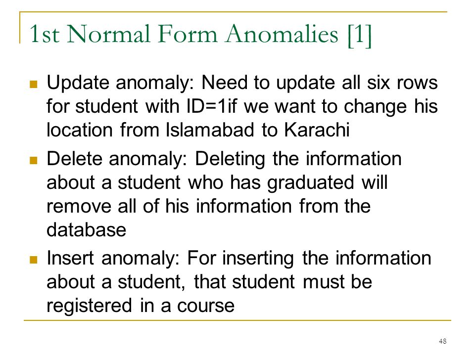 1st Normal Form Anomalies [1]